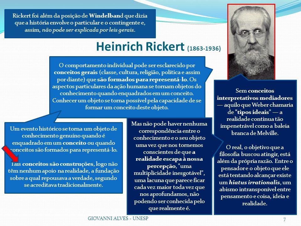 Rickert foi além da posição de Windelband que dizia que a história envolve o particular e o contingente e, assim, não pode ser explicada por leis gerais.