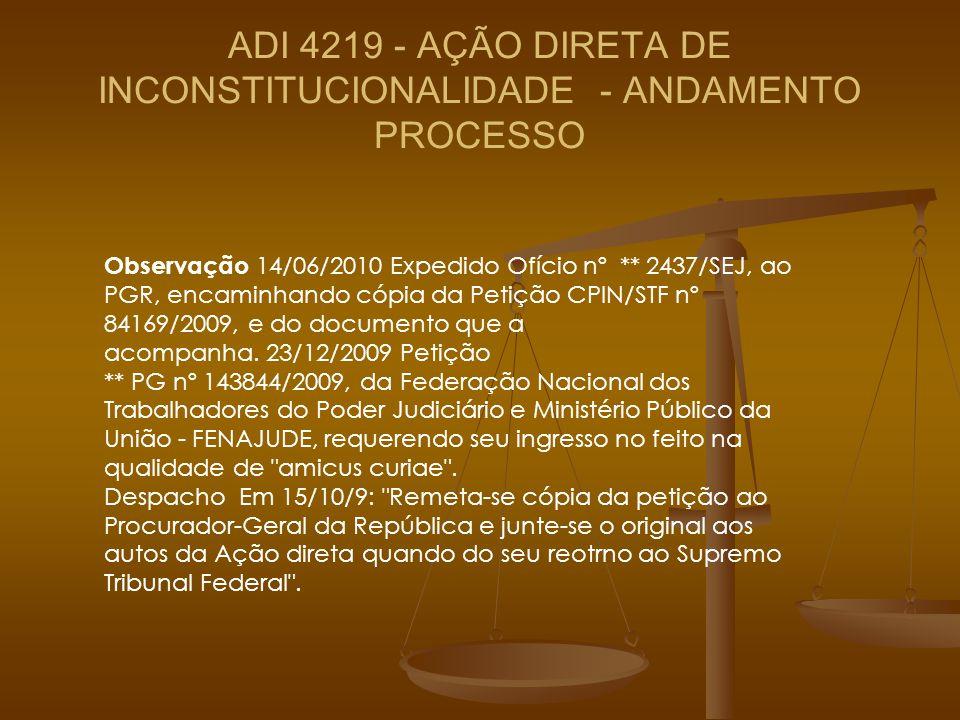 ADI 4219 - AÇÃO DIRETA DE INCONSTITUCIONALIDADE - ANDAMENTO PROCESSO