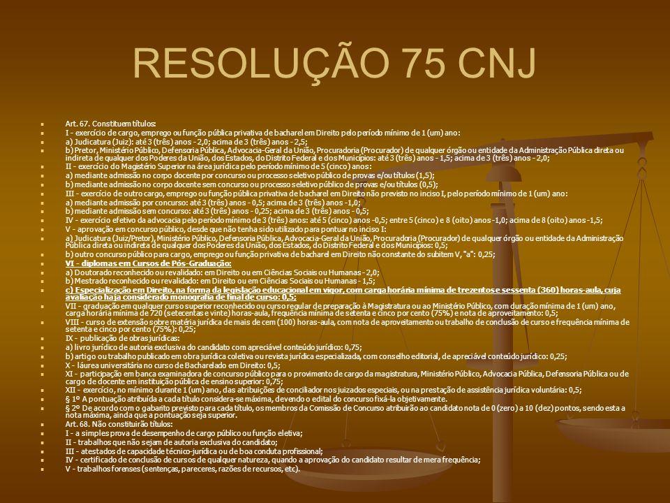 RESOLUÇÃO 75 CNJ Art. 67. Constituem títulos: