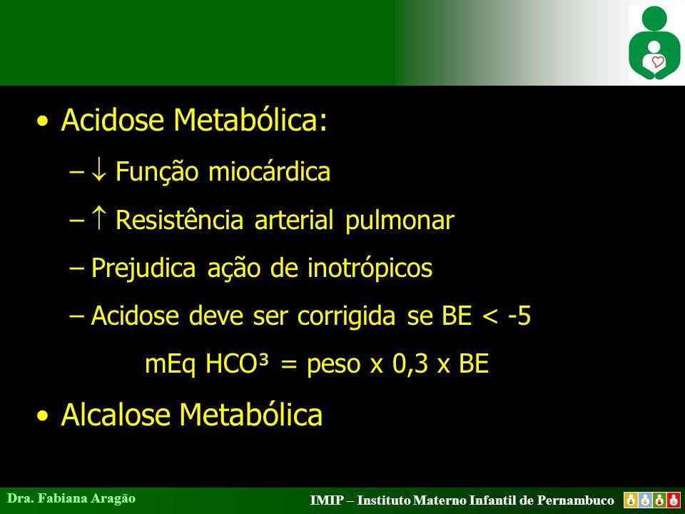 Acidose Metabólica: Alcalose Metabólica  Função miocárdica