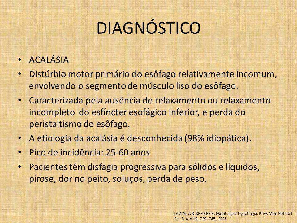 DIAGNÓSTICO ACALÁSIA. Distúrbio motor primário do esôfago relativamente incomum, envolvendo o segmento de músculo liso do esôfago.