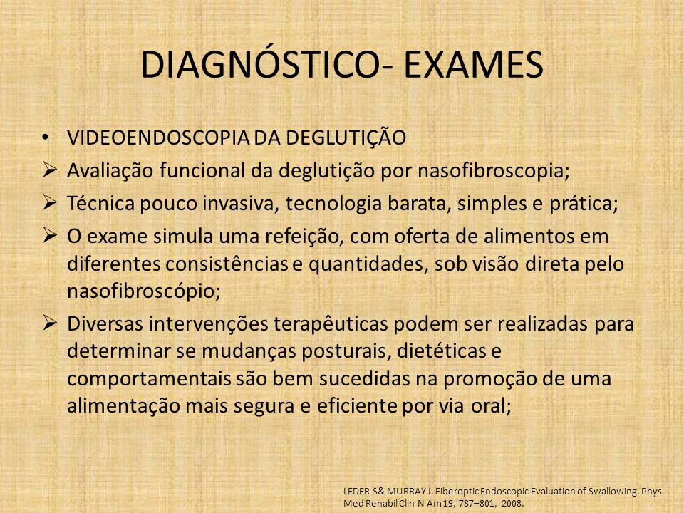 DIAGNÓSTICO- EXAMES VIDEOENDOSCOPIA DA DEGLUTIÇÃO