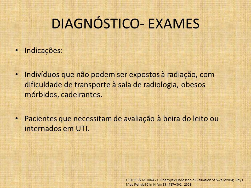 DIAGNÓSTICO- EXAMES Indicações: