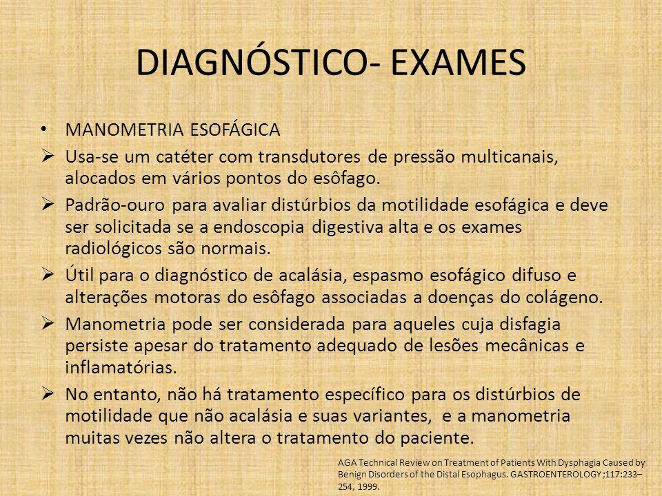 DIAGNÓSTICO- EXAMES MANOMETRIA ESOFÁGICA