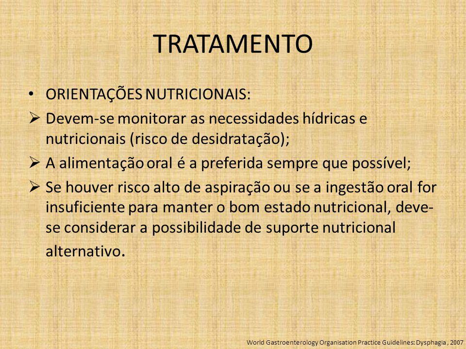 TRATAMENTO ORIENTAÇÕES NUTRICIONAIS:
