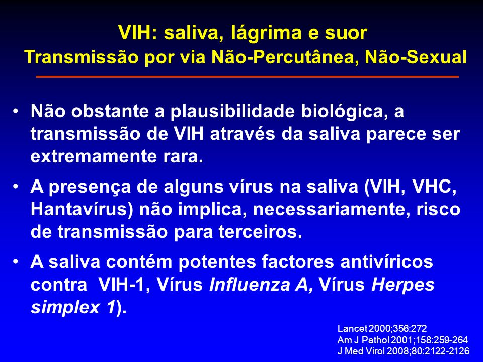 VIH: saliva, lágrima e suor Transmissão por via Não-Percutânea, Não-Sexual