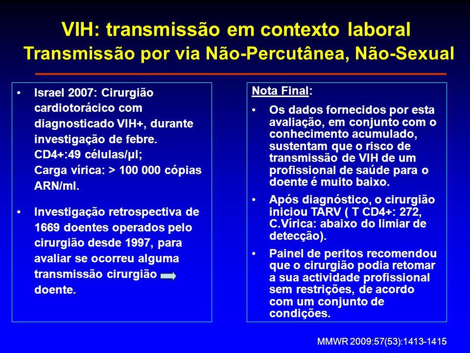 VIH: transmissão em contexto laboral Transmissão por via Não-Percutânea, Não-Sexual