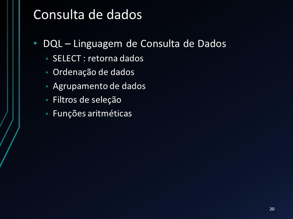 Consulta de dados DQL – Linguagem de Consulta de Dados