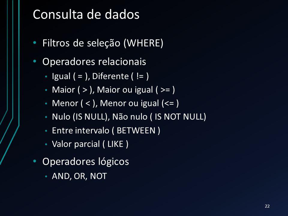 Consulta de dados Filtros de seleção (WHERE) Operadores relacionais
