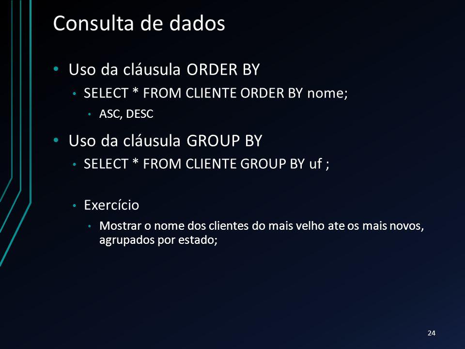 Consulta de dados Uso da cláusula ORDER BY Uso da cláusula GROUP BY