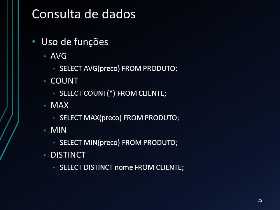 Consulta de dados Uso de funções AVG COUNT MAX MIN DISTINCT
