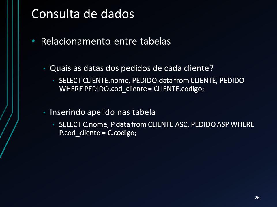 Consulta de dados Relacionamento entre tabelas