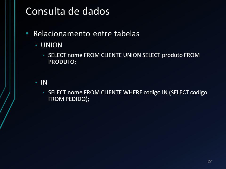 Consulta de dados Relacionamento entre tabelas UNION IN