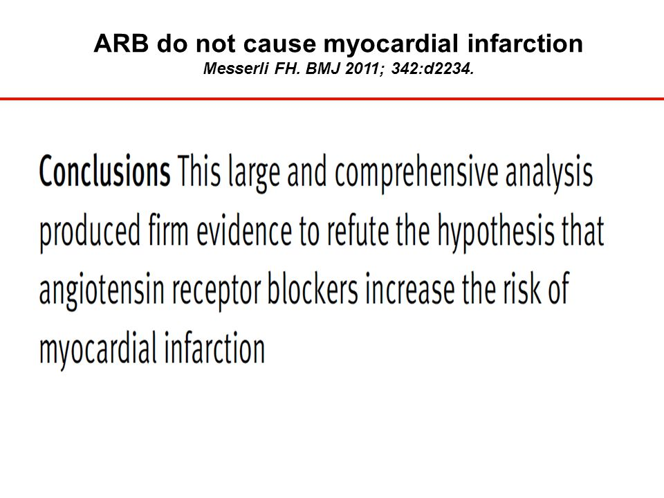 ARB do not cause myocardial infarction