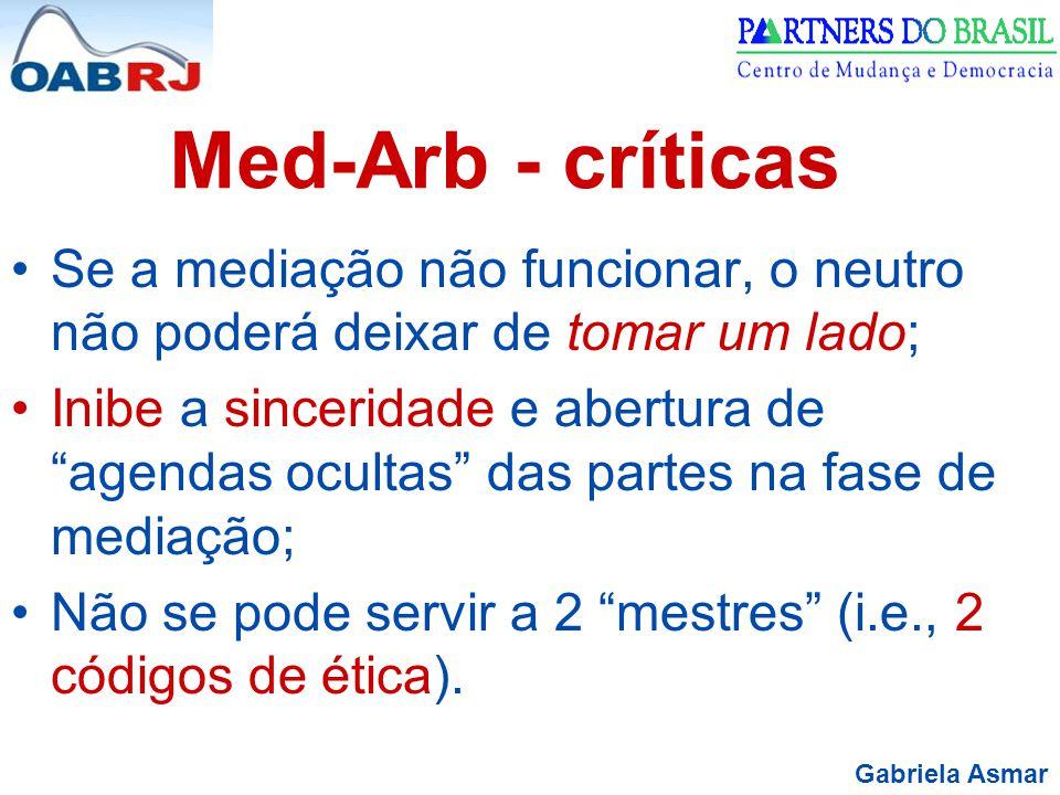 Med-Arb - críticas Se a mediação não funcionar, o neutro não poderá deixar de tomar um lado;