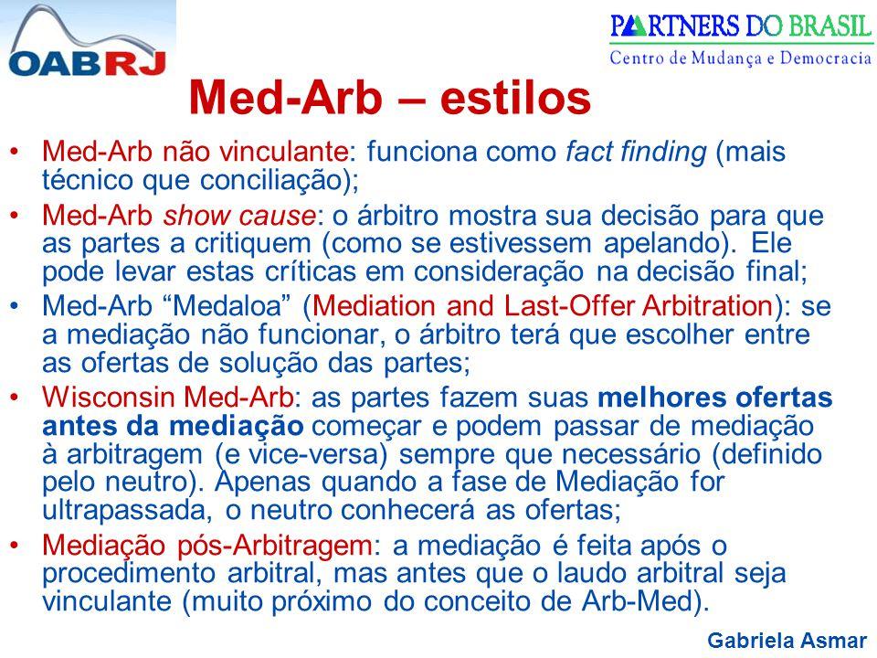 Med-Arb – estilos Med-Arb não vinculante: funciona como fact finding (mais técnico que conciliação);