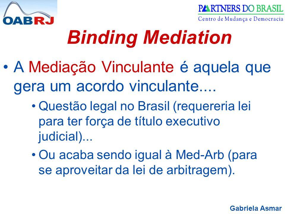 Binding Mediation A Mediação Vinculante é aquela que gera um acordo vinculante....