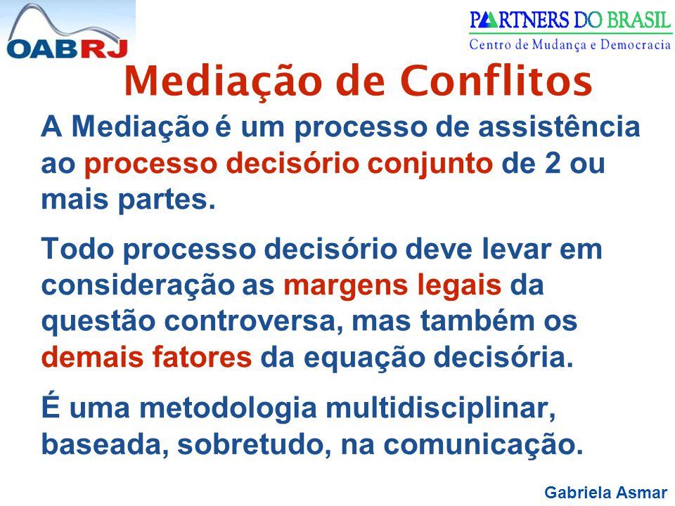 Mediação de Conflitos A Mediação é um processo de assistência ao processo decisório conjunto de 2 ou mais partes.
