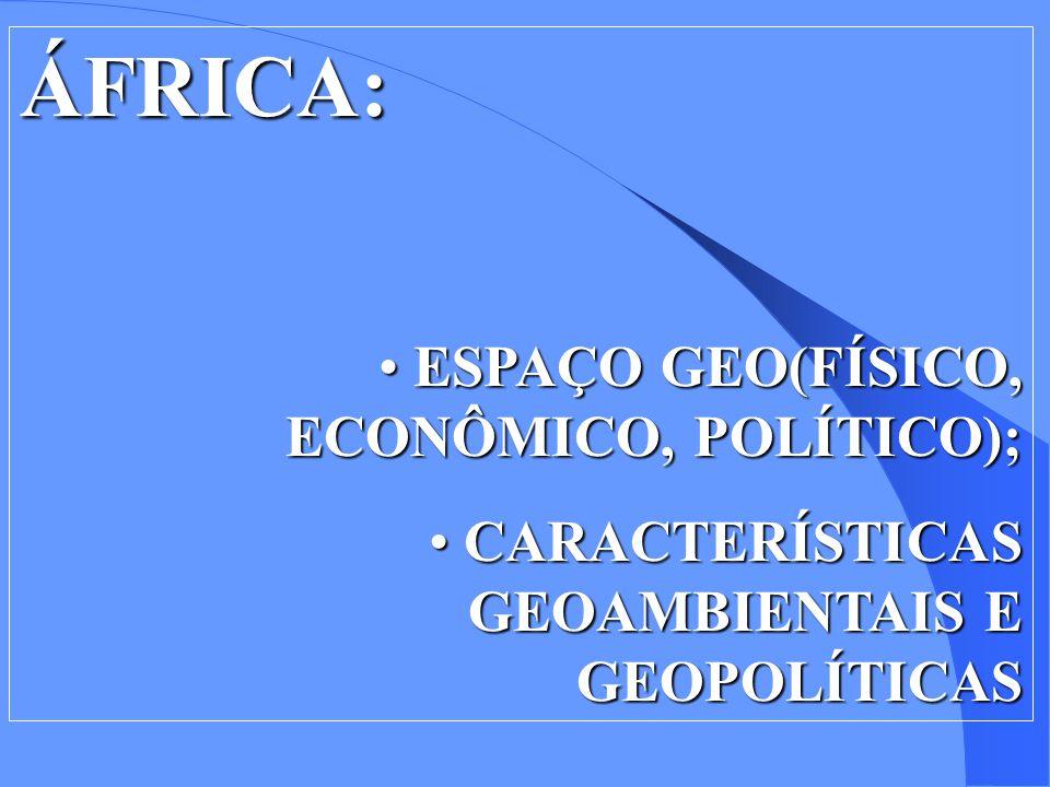 ÁFRICA: ESPAÇO GEO(FÍSICO, ECONÔMICO, POLÍTICO);