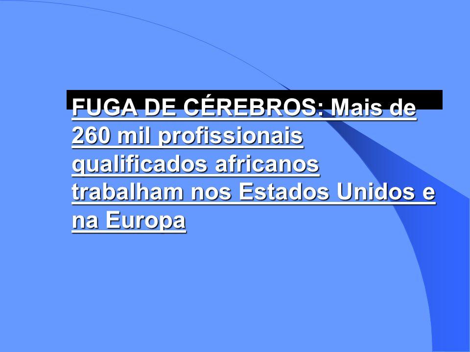 FUGA DE CÉREBROS: Mais de 260 mil profissionais qualificados africanos trabalham nos Estados Unidos e na Europa