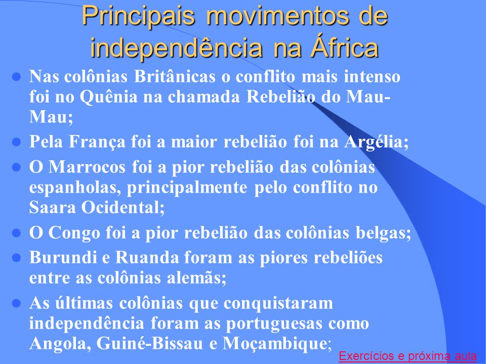 Principais movimentos de independência na África