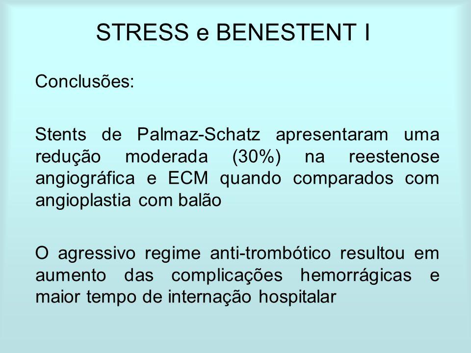 STRESS e BENESTENT I Conclusões: