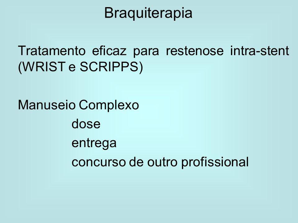 Braquiterapia Tratamento eficaz para restenose intra-stent (WRIST e SCRIPPS) Manuseio Complexo. dose.