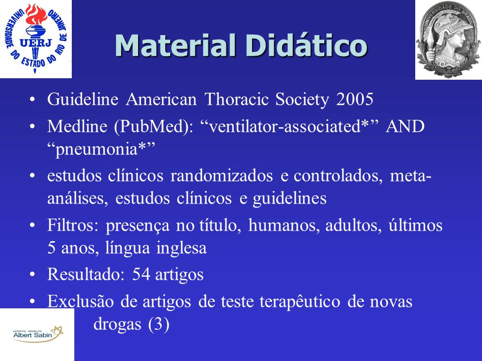 Material Didático Guideline American Thoracic Society 2005