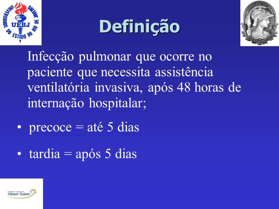 Definição Infecção pulmonar que ocorre no paciente que necessita assistência ventilatória invasiva, após 48 horas de internação hospitalar;