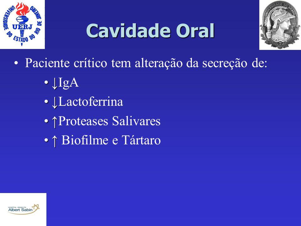 Cavidade Oral Paciente crítico tem alteração da secreção de: ↓IgA