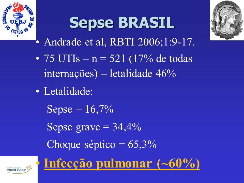 Sepse BRASIL Infecção pulmonar (~60%) Andrade et al, RBTI 2006;1:9-17.