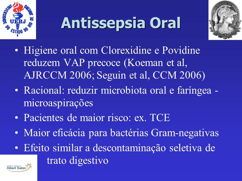 Antissepsia Oral Higiene oral com Clorexidine e Povidine reduzem VAP precoce (Koeman et al, AJRCCM 2006; Seguin et al, CCM 2006)