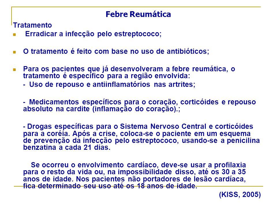 Febre Reumática Tratamento Erradicar a infecção pelo estreptococo;
