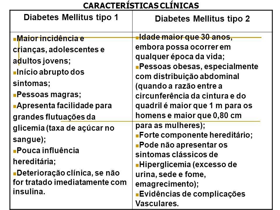 Diabetes Mellitus tipo 1 Diabetes Mellitus tipo 2