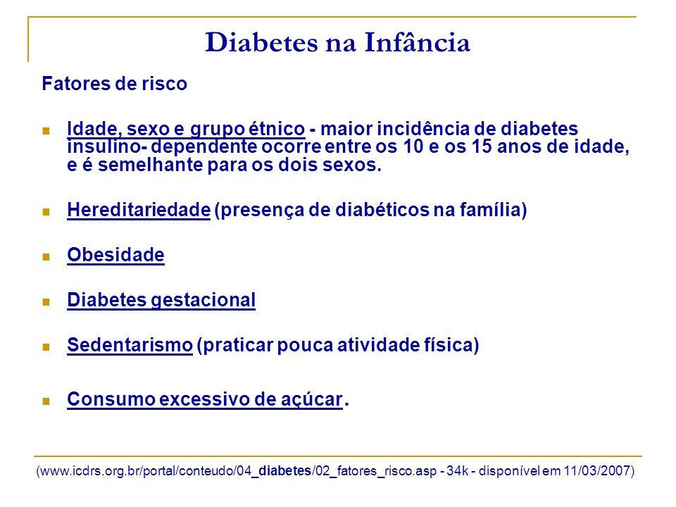 Diabetes na Infância Fatores de risco