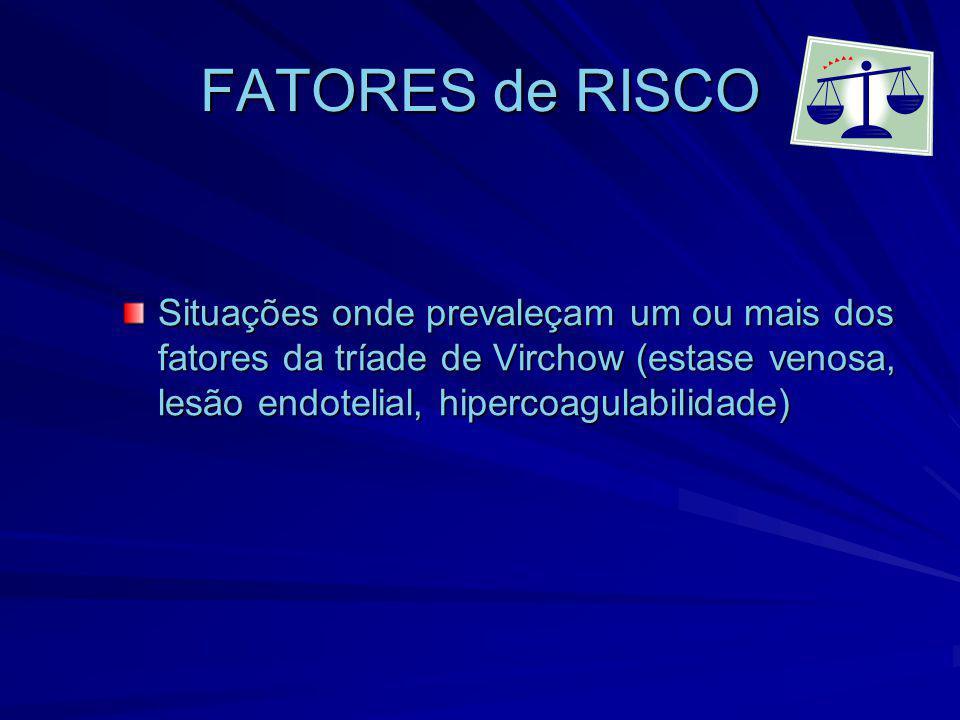 FATORES de RISCO Situações onde prevaleçam um ou mais dos fatores da tríade de Virchow (estase venosa, lesão endotelial, hipercoagulabilidade)