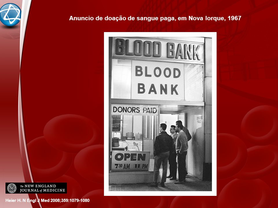 Anuncio de doação de sangue paga, em Nova Iorque, 1967