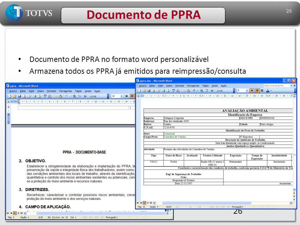Documento de PPRA Documento de PPRA no formato word personalizável