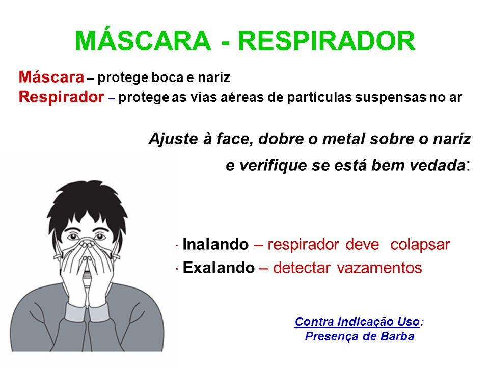 MÁSCARA - RESPIRADOR Máscara – protege boca e nariz