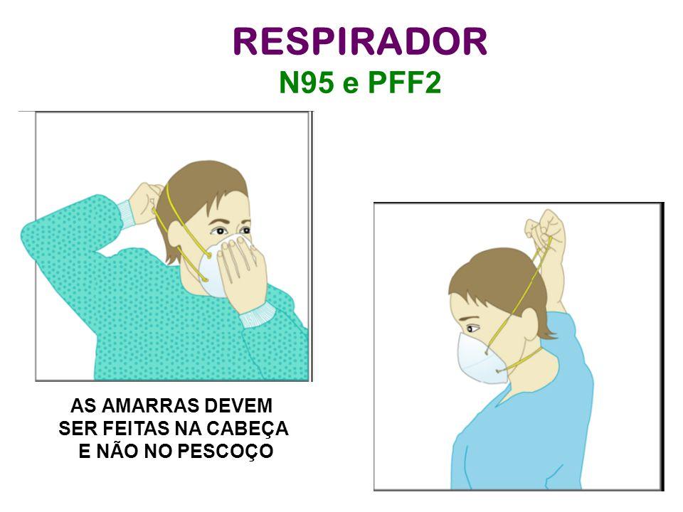 RESPIRADOR N95 e PFF2 AS AMARRAS DEVEM SER FEITAS NA CABEÇA