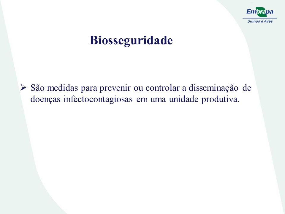 Biosseguridade São medidas para prevenir ou controlar a disseminação de doenças infectocontagiosas em uma unidade produtiva.