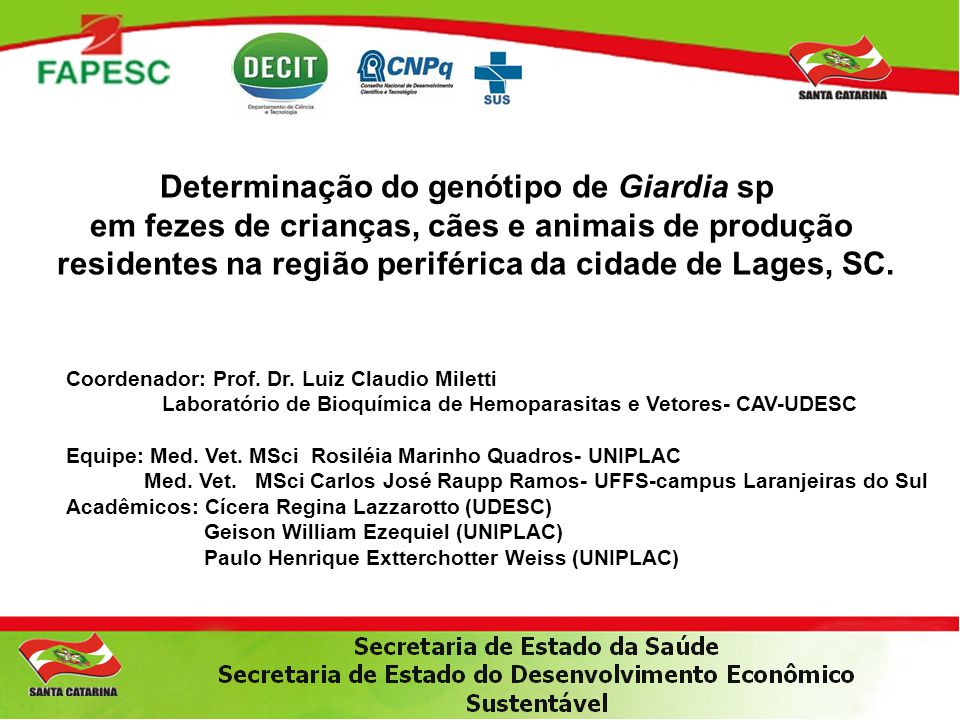 Determinação do genótipo de Giardia sp