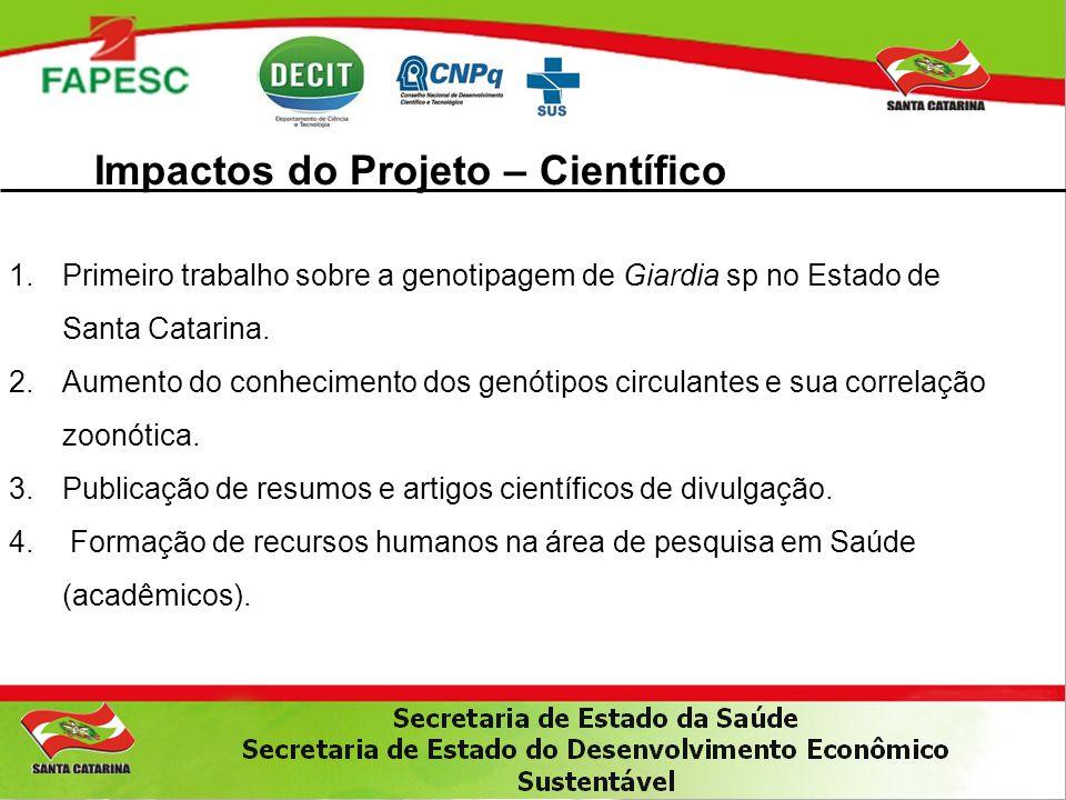 Impactos do Projeto – Científico