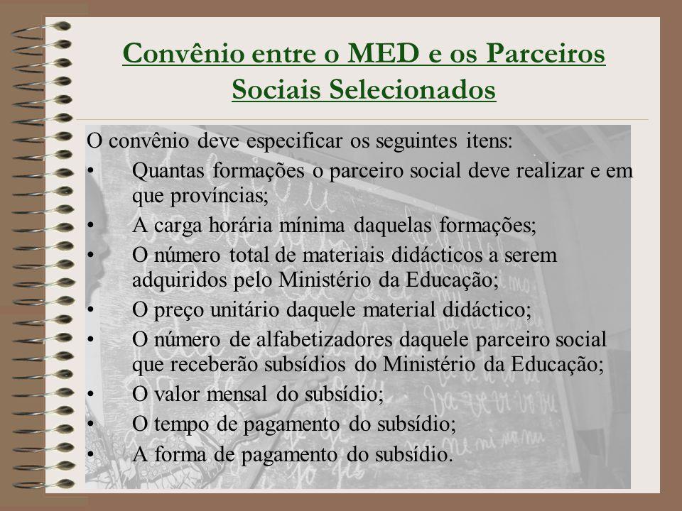Convênio entre o MED e os Parceiros Sociais Selecionados