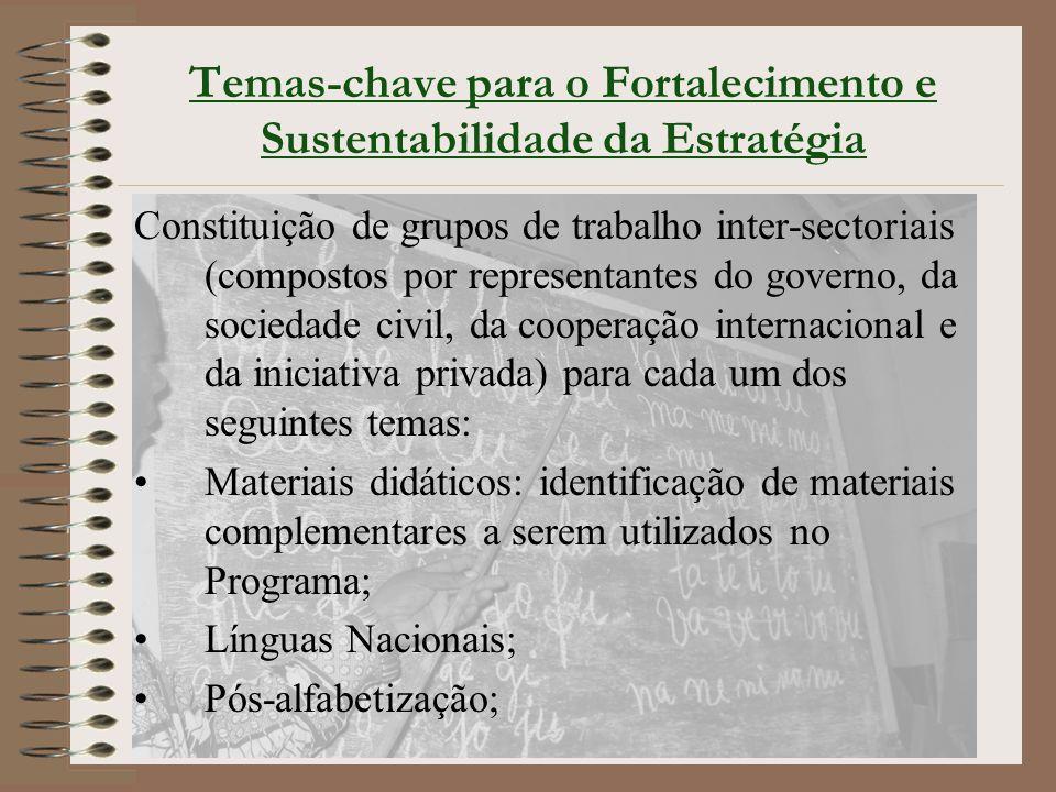 Temas-chave para o Fortalecimento e Sustentabilidade da Estratégia