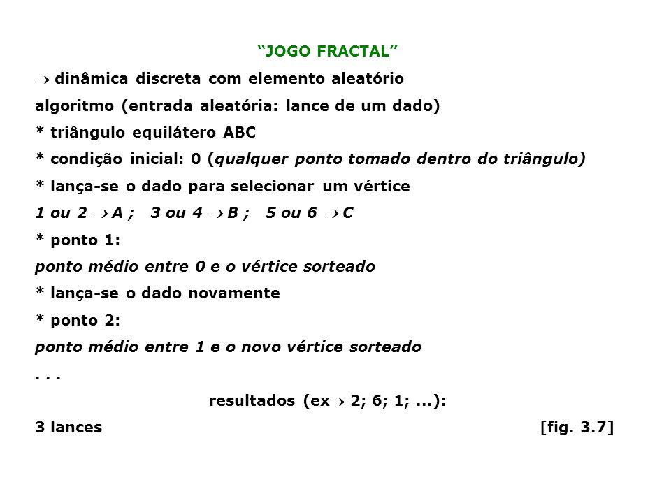 JOGO FRACTAL  dinâmica discreta com elemento aleatório. algoritmo (entrada aleatória: lance de um dado)