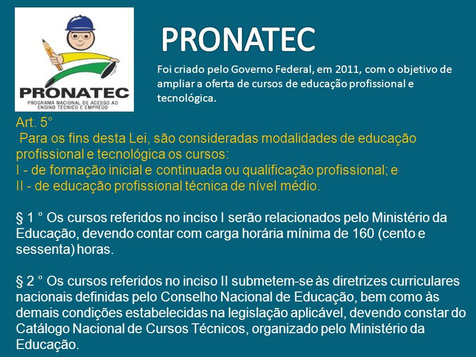 PRONATEC Foi criado pelo Governo Federal, em 2011, com o objetivo de ampliar a oferta de cursos de educação profissional e tecnológica.