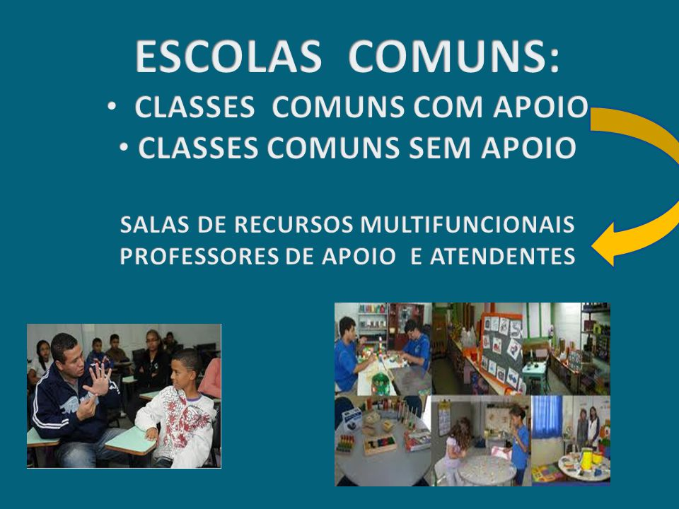 ESCOLAS COMUNS: CLASSES COMUNS COM APOIO CLASSES COMUNS SEM APOIO