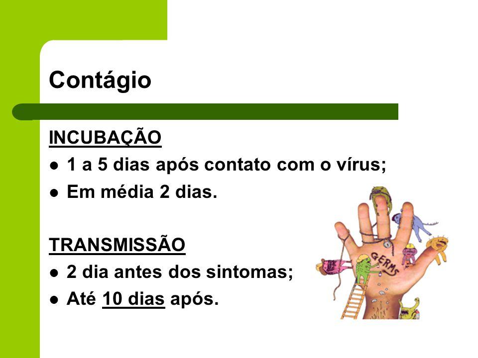 Contágio INCUBAÇÃO 1 a 5 dias após contato com o vírus;