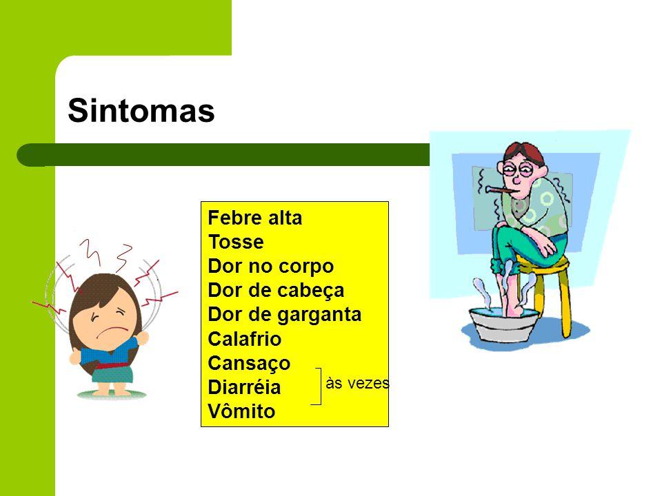 Sintomas Febre alta Tosse Dor no corpo Dor de cabeça Dor de garganta